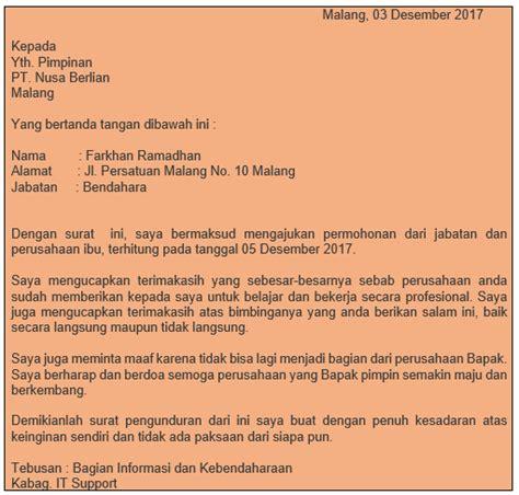 Surat Pengunduran Kerja 2017 by 12 Contoh Dan Format Surat Pengunduran Diri Resign