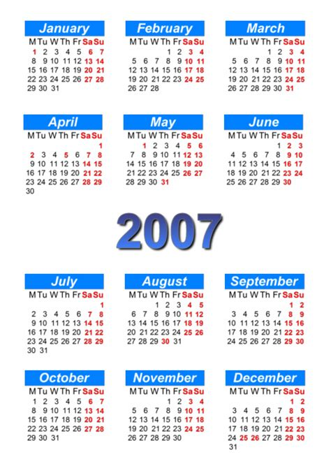 Calendar For 2007 Calendar 2007 To Print And In Pdf Abc Calendar