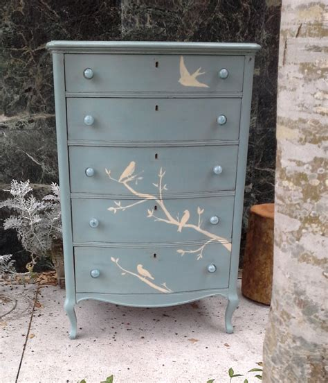 shabby chic dresser furnitologist dresser painted birds accented with glass knobs shabby chic cottage