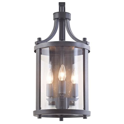 Lantern Wall Sconce by Filament Design Antonia 3 Light Hammered Black Outdoor