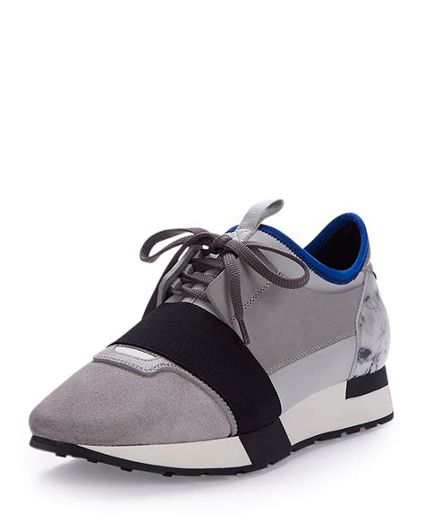 balenciaga sneakers lyst balenciaga mixed media leather sneaker in gray