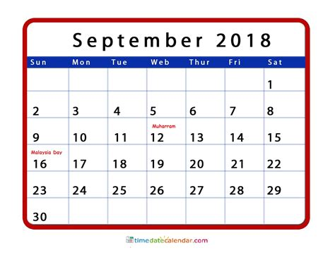september calendar  malaysia printable calendar templates