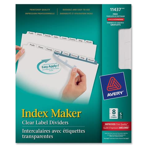 Avery Lsk8 Index Maker Clear Label Dividers 8 Tab S Set 8 5 Quot Divider Width X 11 Quot Divider Easy Apply Label Strips For Avery Index Maker Template