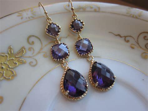 amethyst earrings purple gold three tier bridesmaid