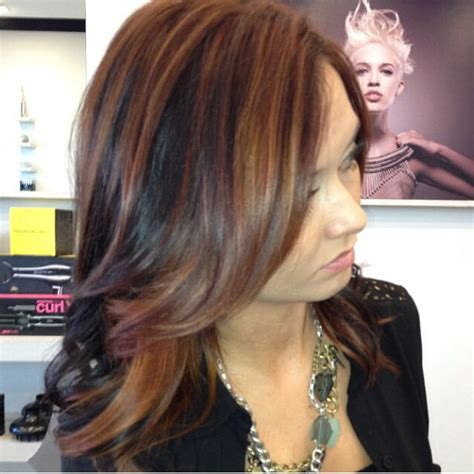 brown hair with multiple highlights paul mitchell multi tone red brown hair by me