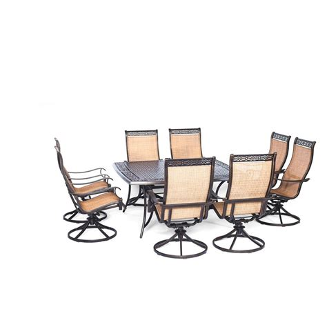 Agio Patio Dining Set Agio Somerset 9 Aluminum Square Outdoor Dining Set With Swivels And Cast Top Table