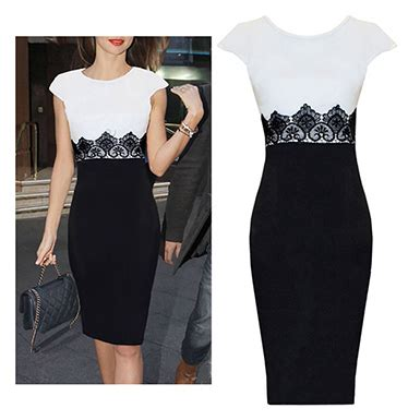 womens pencil skirt dress sleeve black white
