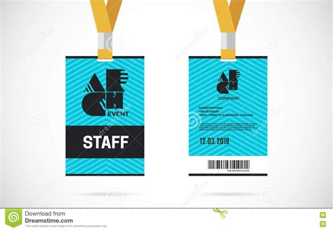 conference id card template staff id card set vector design illustration stock vector