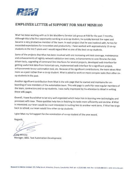 Support Letter Of Application Employer Letter Of Support