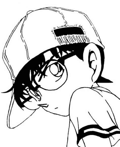 Goku Tshirt Hitam 聪明的小柯南名侦探柯南简笔画图片大全 8 卡通动漫简笔画 5068儿童网