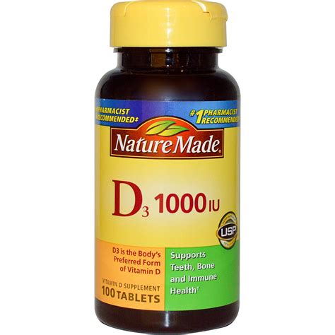 Vitamin Natur E Nature Made D3 Vitamin D Supplement 1000 Iu 100