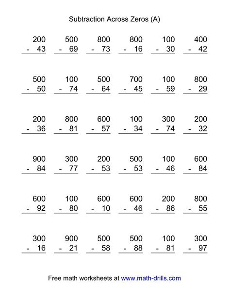 substraction across zeros worksheet subtraction across zeros 36 questions a
