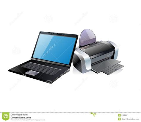 Printer Desk black laptop and printer royalty free stock photography