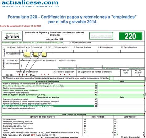 formulario certificado de no declarante de renta para pensionados formulario 220 modelos y formatos