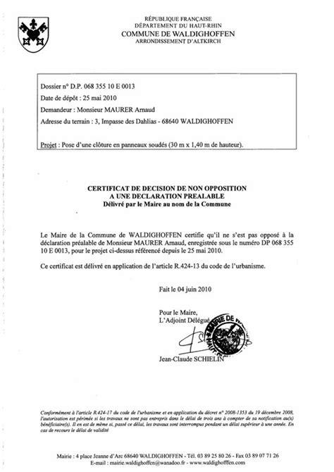 Exemple De Lettre D Opposition Administrative Modele Certificat De Non Opposition A Une Declaration Prealable Document