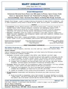 Event Planner Resumes by Resume Sles Event Planner