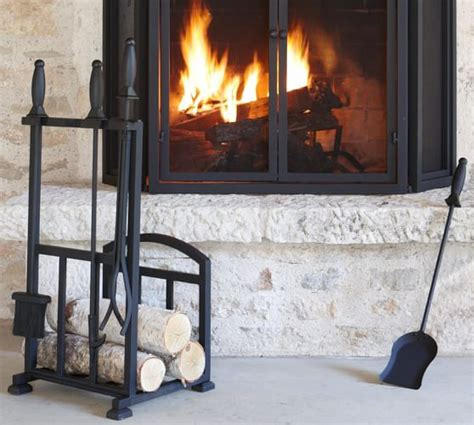 fireplace tool set with log holder pb classic fireplace log holder tool set pottery barn