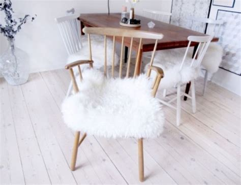 ikea dining chair hack diy ikea sheep skin hack into chair covers shelterness
