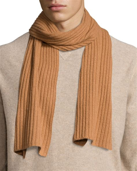 portolano ribbed scarf in brown for lyst