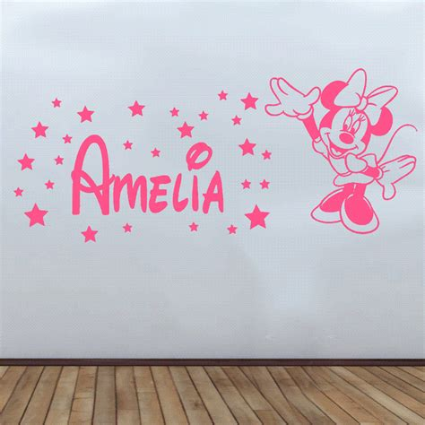 minnie mouse wall stickers personalised minnie mouse wall sticker decal disney bedroom decor sqn61 ebay
