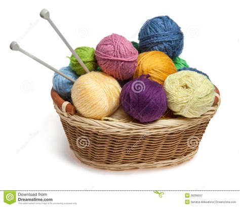 what does knitting knitting yarn balls and needles in basket royalty free