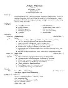Resume For Hairstylist by 10 Hair Stylist Resume Sle Writing Guide Writing Resume Sle