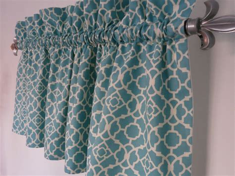 Teal Kitchen Curtains Turquoise Valance Waverly Lovely Lattice Aqua White Valance
