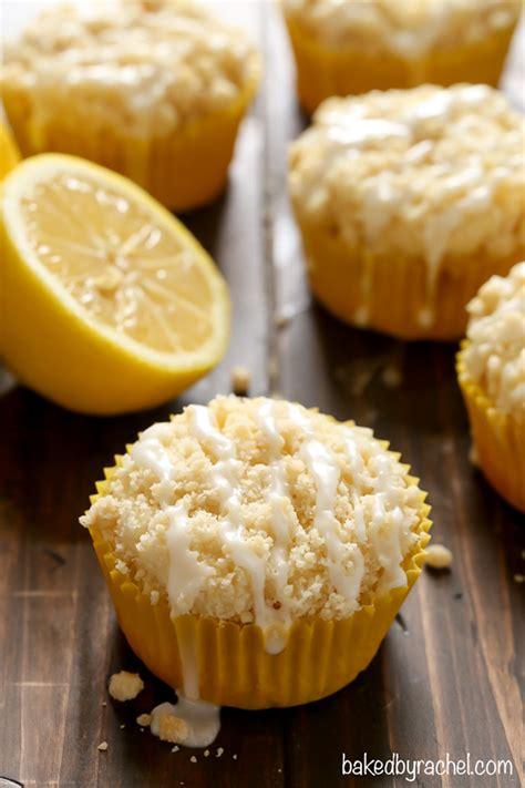 lemon crumb muffins with lemon glaze baked by rachel
