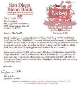 Thank You Letter For Blood Donation C San Diego Golf San Diego Golf Charity Golf Tournaments