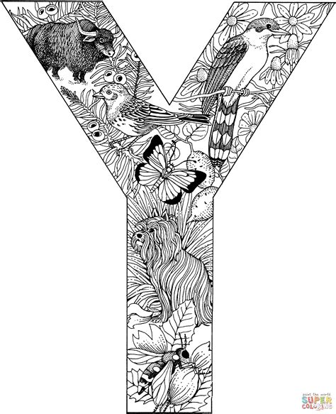 letter y with animals coloring page free printable