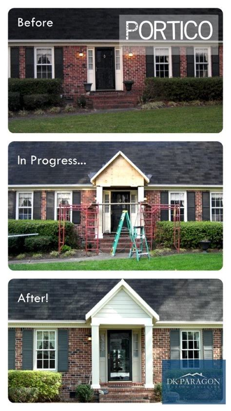 adding curb appeal to a ranch house adding a portico is a beautiful way to shade your front