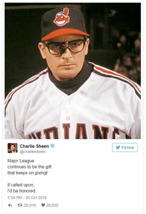 Major League Movie Meme - charlie sheen s offre pour le lancer protocolaire des