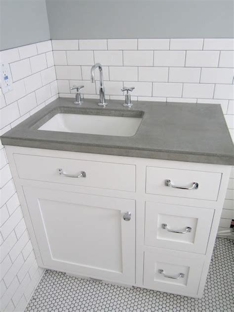 tile bathroom vanity countertop white vanity penny round tiles and concrete countertops