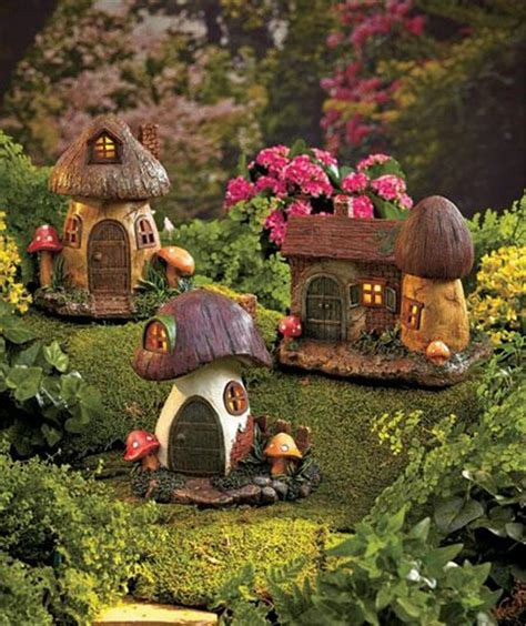 Solar Lighted Fairy Gnome Home Garden Statue Yard Lighted Houses