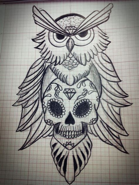 owl and sugar skull tattoo discover and save creative ideas