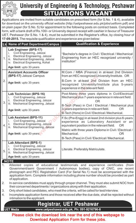 Online Civil Engineering Jobs Work From Home - uet peshawar jobs 2015 september application form lab engineers assistant
