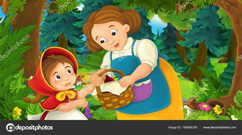 caperucita roja dibujos animados en escena dibujos animados con caperucita roja madre