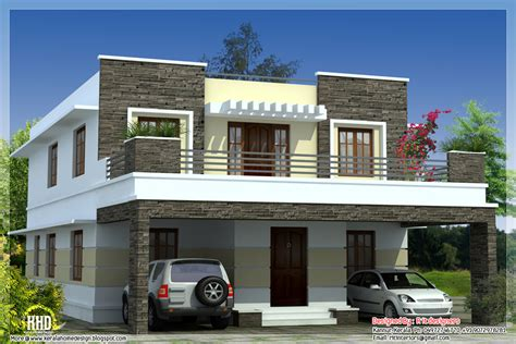 house design in modern 3 bedroom modern flat roof house kerala home design and