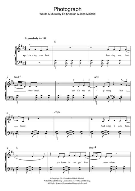 ed sheeran perfect piano sheet music easy photograph sheet music by ed sheeran beginner piano 119250