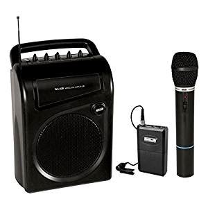 ahuja portable speaker cum amplifier with 1 cordless mic