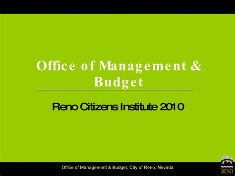 Office Of Management And Budget by City Of Reno Office Of Management Budget