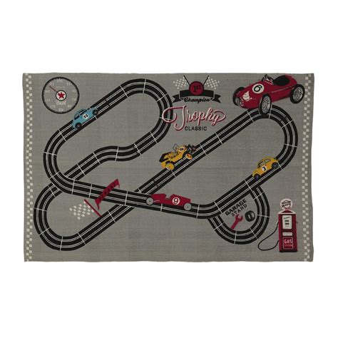 tappeto bambina tappeto bambino in cotone grigio 120 x 180 cm circuit