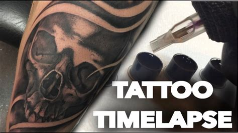 tattoo cover up reality show tattoo timelapse real time black and grey skull cover