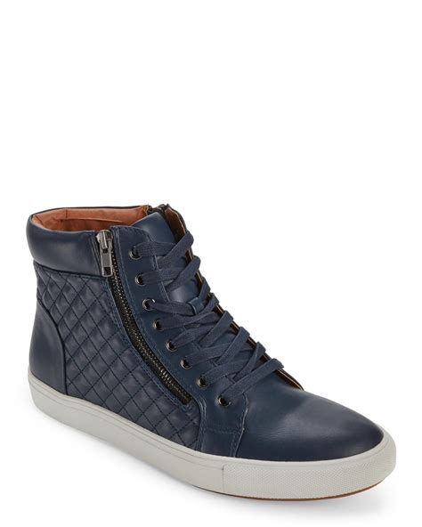 steve madden navy quodis quilted high top sneakers in blue