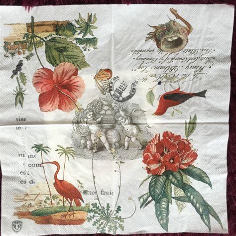 Tissue Motif Napkin Decoupage 19 table napkin paper tissue pattern vintage flower bird handerchief decoupage craft wedding