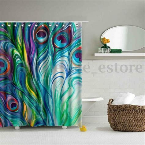 home decor bathroom peacock feather waterproof polyester fabric shower curtain