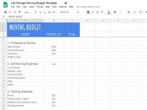 create  realistic moving budget   guide