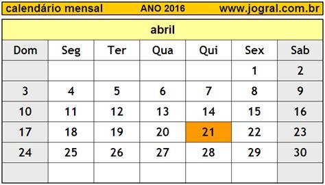 calendario progresar mes abril 2016 calend 225 rio mensal abril de 2016 imprimir m 234 s de abril 2016
