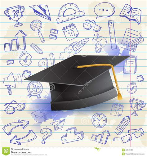 doodle graduation back to school celebration card stock illustration image