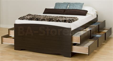queen storage beds with drawers prepac tall queen platform storage bed in espresso with 12
